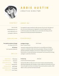 Resume With Accent Abbie Austin Creative Director Contact About me 100100100 hello 18