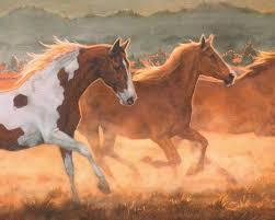 wild horses running on sunsetting plains wallpaper border 646