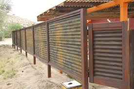 custom made corrugated metal wood fence privacy patina rust or throughout corrugated fencing plan 6