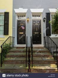 Front doors of homes in historic Georgetown, Washington DC, USA ...