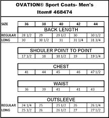 Sport Coat Sizing Chart Show Jacket Size Chart Ovation Boot