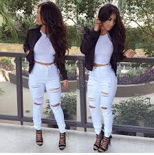 jeans heels leather coat white ripped jeans white jeans white crop tops crop tops