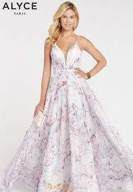 Alyce Paris Print Chiffon Dress 60440
