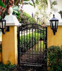 scroll top iron garden gate