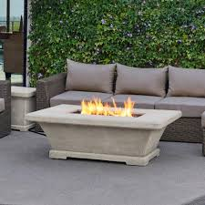 fiber concret rectangle propane gas fire pit in cream