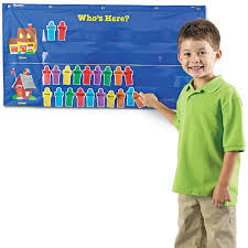 Whos Here Today Chart Learning Resources Attendance Pocket Chart Blue