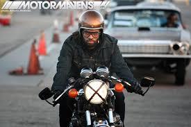 motorcyclist bobber cafe racer goggles gold flake helmet mooneyes hot rod rat kustom irwindale sdway xmas party