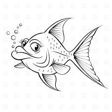 Sketch Of Cartoon Fish Outline Stock Vector Image