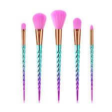 guj 5pcs unicorn brushes set mermaid diamond colorful foundation blending power makeup brush cosmetic beauty tool