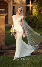 stunning deep v neck cap sleeve ivory lace wedding dress