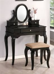 charlotte black makeup vanity table set w bench