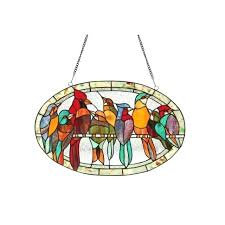 stained glass birds lighting glass window panel stained glass birds on a wire pattern