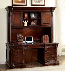 roosevelt cherry wood credenza desk w hutch by furniture of america