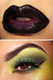 love this idea slight green around the eyes and upper cheek bones black lips and purple cheek bones wicked witch of the east makeup with