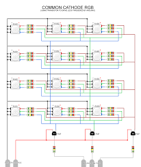 hooking up multiple rgb leds while using a minimal number of pwm common cathode rgb w transistor