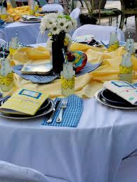Blue And Gold Table Setting An Evening Of Story Telling Aka Story Book Baby Shower