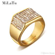 C Wholesale MiLaTu Luxury Wedding Rings For Men Goldcolor Stainless Steel  Pave Setting Rhinestone Male Jewelry Fatheru0027s Gift R266