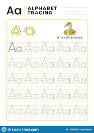 Letter Practicing Letter A Alphabet Tracing Book With Example And Funny