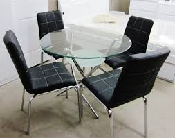 Small Dining Table Set For 4 Simple Round Glass Dining Table Sets For 4 On Small Villa Remodel