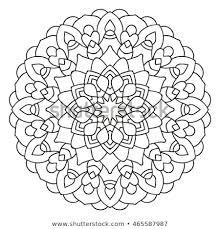 Symmetrical Circular Pattern Mandala Coloring Page Stock