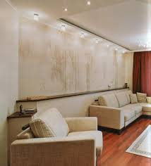 awesome abstract wallpaper that enlightened by modern track lighting at contemporary sitting space