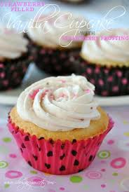Vanilla Cupcakes With Strawberry Filling And Strawberry Buttercream
