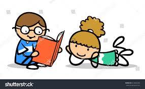 children as cartoon boy reading book aloud to