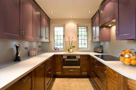 modern kitchen layouts. Walnut U Shaped Kitchen Painted With Ceiling Lamps Over Concrete Countertop And Two Glass Windows Modern Layouts D