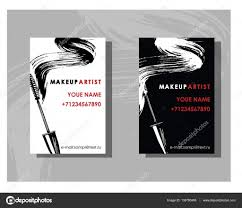 makeup artist business card vector template with makeup items pattern maa fashion and