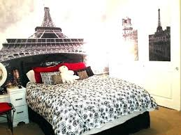 Paris Bedroom Themes Cute Bedding With Theme On Black Wooden Bed Before The  Image On Wall . Paris Bedroom ...