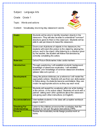 sample lesson plan outline lesson plan examples sample lesson plan for kindergarten language