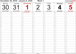 Weekly Calendar 2020 Uk Free Printable Templates For Excel