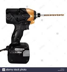 hitachi drill battery. hitachi cordless drill cut out on a white background. impact driver with li-on rechargeable battery. battery