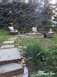 Stone Patio DIY Fire Pit  Wood Beam Benches Seasons Fire Pits - Landscape lane outdoor furniture