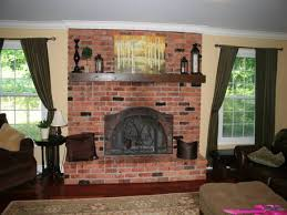 living room decorating ideas with red brick fireplace