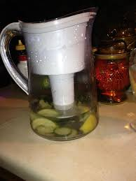 inside brita water filter. Inside A Brita Pitcher Put One Lemon Quartered And Squeezed, 5 Basil Leaves Slices Of Cucumber. Then Fill With Water Through The Filter. Filter