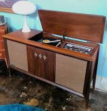 1960s Sylvania Walnut AM FM Stereo Record Player Cabinet