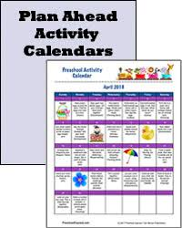 Plan Ahead Activity Calendars