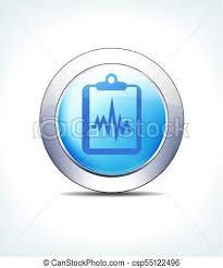 Patient Chart Clipboard Blue Button Patient Chart Records Clipboard Vector Icon