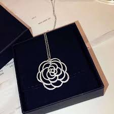 whole classic brand pure 925 sterling silver jewelry for women wedding jewel big pendant flower necklace big flower charm rose pendant gold necklaces