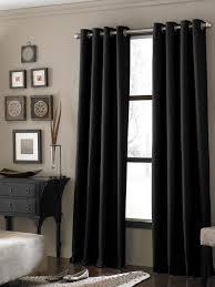 Black Textured Grommet Living Room Window Treatment Curtain Ideas