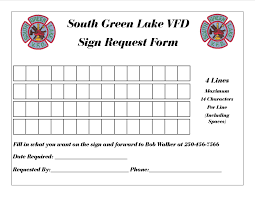 Sign Request Form | South Green Lake Volunteer Fire Department
