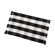 buffalo check rug washable checd cotton mat woven black and white plaid striped area rug tassel for exterior outdoor kitchen living room bathroom decor