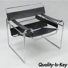 leather and chrome chair. Vtg Wassily Style Chrome Black Leather Lounge Chair Mid Century Modern Breuer And