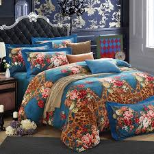 cerulean blue brown and red animal leopard cheetah print with garden images fl design full queen size y bedding sets