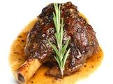 braised  garlic lamb shanks
