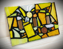 Why Does My Gfci Outlet Have A Yellow Light Yellow Mix Stained Glass Mosaic Light Switch Cover Single Double Triple Outlet Or Decora Flapper Style Gfci Made To Order