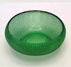 vintage e o brody green glass bowl ribbed candy dish round cleveland oh