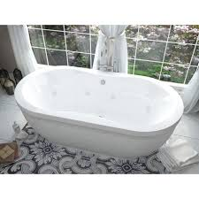 atlantis whirlpools embrace 34 x 71 oval freestanding air whirlpool water jetted bathtub center drain