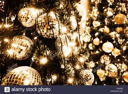 Gold Tree Lights Christmas Tree With Gold Ball And Bokeh Lights Background